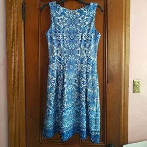 Blue/White print dress